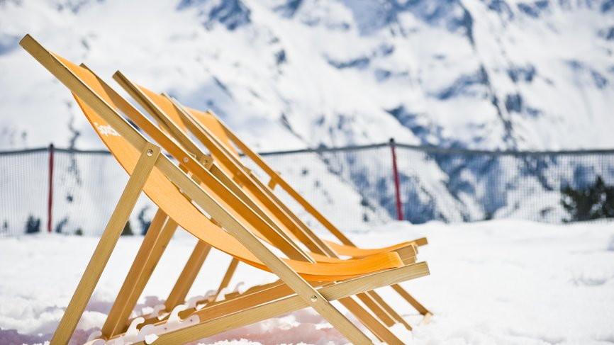 Deck chairs overlooking the mountain panorama Galtürs for a break